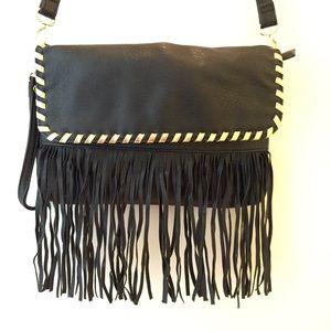 STEVE MADDEN vegan leather fringed purse black